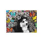 Irie Siberian Husky Butterflies 5'x7'Area Rug