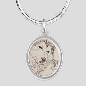 Siberian_Husky_KlineSq Silver Oval Necklace