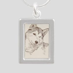 Siberian_Husky_KlineSq Silver Portrait Necklace
