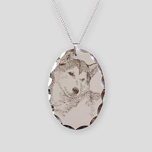 Siberian_Husky_KlineSq Necklace Oval Charm