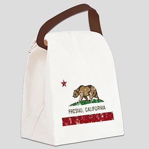 california flag fresno distressed Canvas Lunch Bag