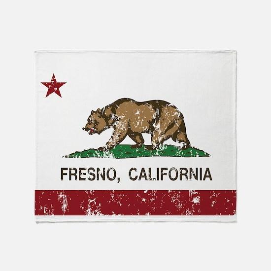 california flag fresno distressed Throw Blanket