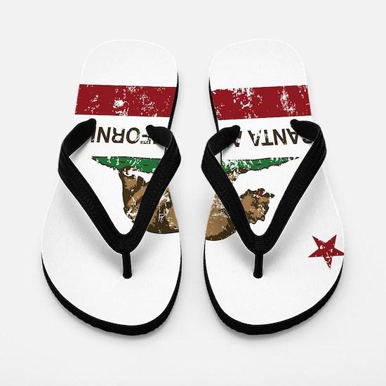 california flag santa ana distressed Flip Flops