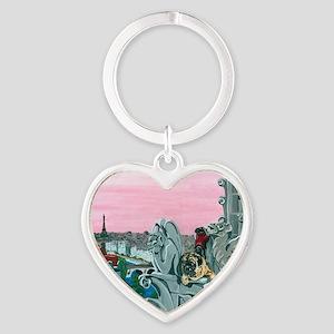 Traveling Pugs Notre Dame PARIS Heart Keychain