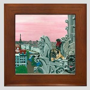 Traveling Pugs Notre Dame PARIS Framed Tile