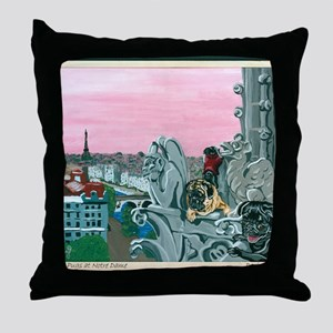 Traveling Pugs Notre Dame PARIS Throw Pillow