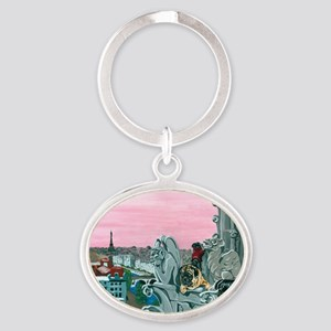 Traveling Pugs Notre Dame PARIS Oval Keychain