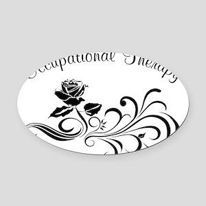 ot rose scroll Oval Car Magnet