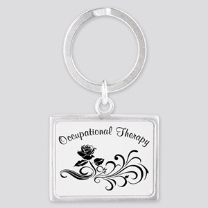 ot rose scroll Landscape Keychain