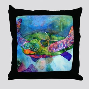 sea turtle full Throw Pillow