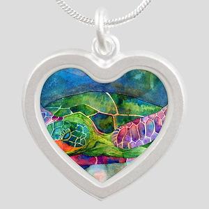 sea turtle full Silver Heart Necklace