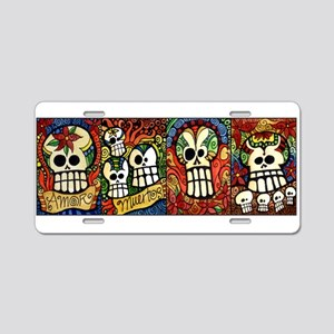 Sugar Skulls Mug Wrap Aroun Aluminum License Plate