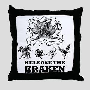 kraken and mythological beasts Throw Pillow
