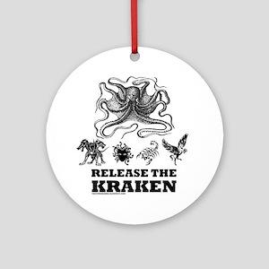 kraken and mythological beasts Round Ornament