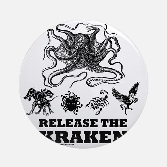 kraken and mythological beasts Round Ornament