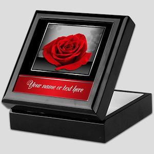Rich Elegant Red Rose Personalized Keepsake Box