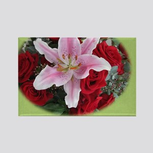 Roses and Lily Rectangle Magnet