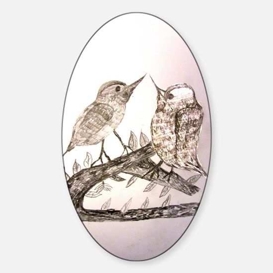 TomerTal two birds Sticker (Oval)