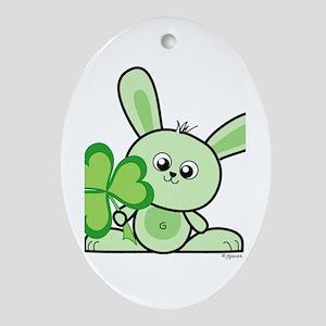 Lucky Bunny Oval Ornament