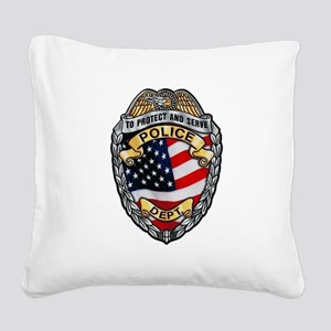 Police To Protect and Serve Square Canvas Pillow