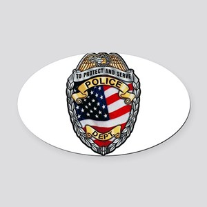 Police To Protect and Serve Oval Car Magnet
