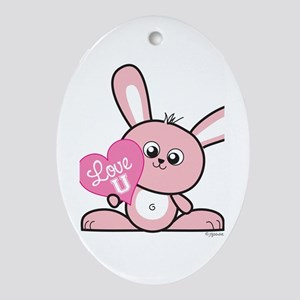 Love You Bunny Oval Ornament