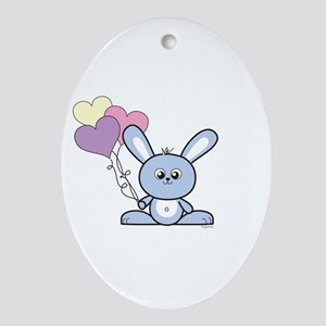 Bunny with Love Balloons Oval Ornament