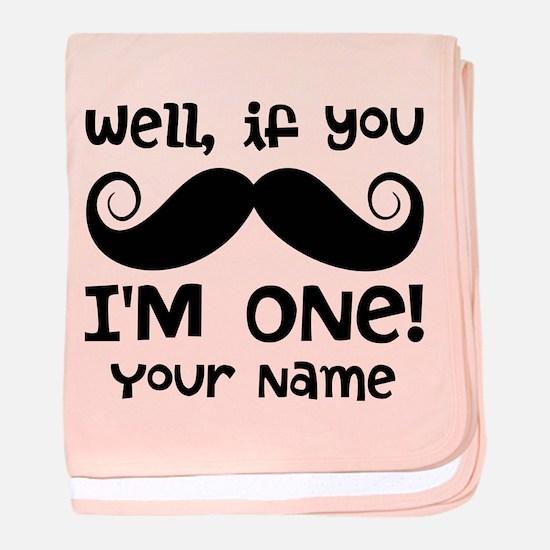 1st Birthday Mustache Personalized baby blanket