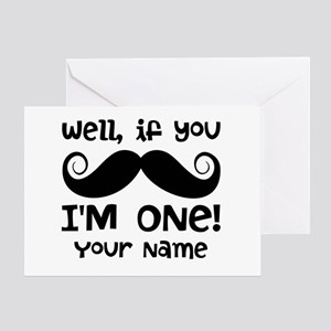1st Birthday Mustache Personalized Greeting Card