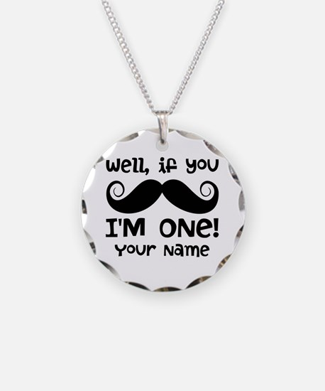 1st Birthday Mustache Personalized Necklace Circle