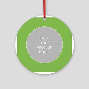 Green Photo Border Ornament (Round)