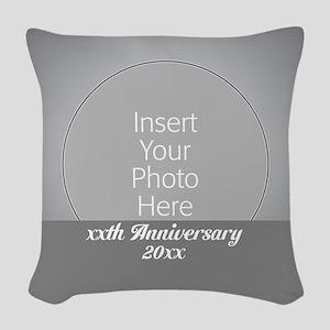 Anniversary Silver Woven Throw Pillow