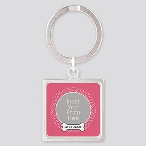Dog Bone Pet Photo Pink Keychains