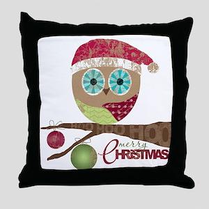 Hoo, Hoo, Hoo, Merry Christmas Throw Pillow