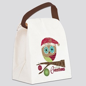 Hoo, Hoo, Hoo, Merry Christmas Canvas Lunch Bag