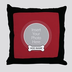 Dog Bone Pet Photo Red Throw Pillow