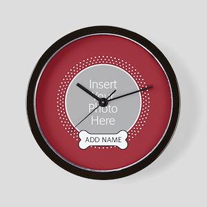 Dog Bone Pet Photo Red Wall Clock