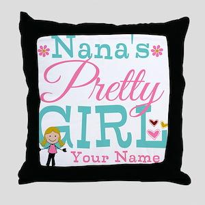 Personalized Nana's Pretty Girl Throw Pillow