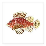 Red Lionfish Square Car Magnet 3