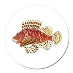 Red Lionfish Round Car Magnet