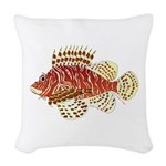 Red Lionfish Woven Throw Pillow