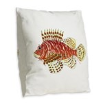 Red Lionfish Burlap Throw Pillow