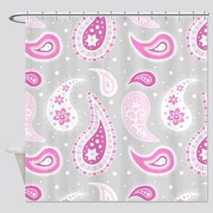 Pink Grey Paisley Pattern Shower Curtain
