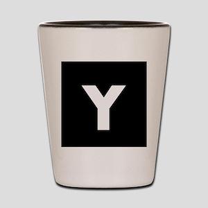 Modern Monogram Black White Shot Glass