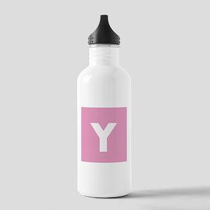 Modern Monogram Pink Water Bottle