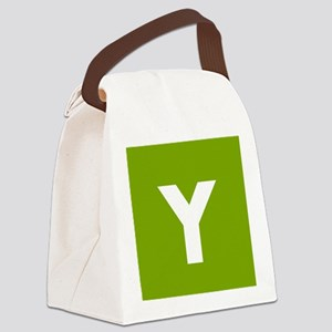 Modern Monogram Lime Green Canvas Lunch Bag