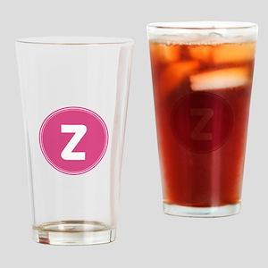 Pink Monogram Retro Drinking Glass