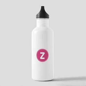 Pink Monogram Retro Water Bottle