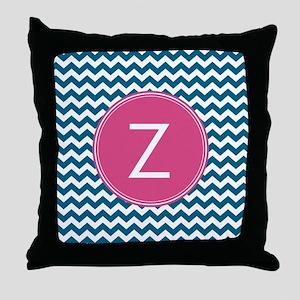 Blue Pink Monogram Throw Pillow