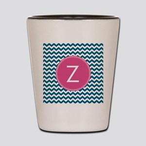 Blue Pink Monogram Shot Glass